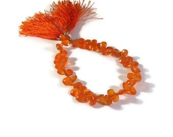 Orange Carnelian Beads, Bright Teardrop Briolettes, 4 Inch Strand of Pear Shaped Natural Gemstones, 7x4mm - 8x5mm (B-Ca3b)