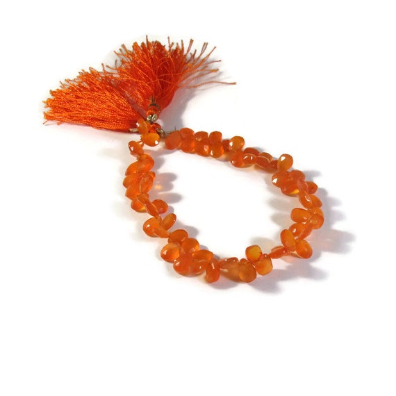 Orange Carnelian Beads, Bright Teardrop Briolettes, 8 Inch Strand of Pear Shaped Natural Gemstones, 7x4mm - 8x5mm (B-Ca3a)
