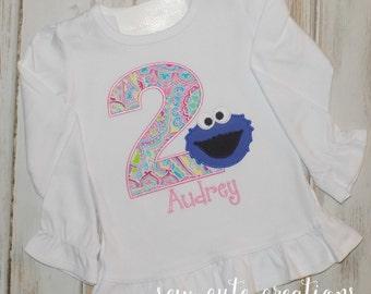 Cookie Monster Birthday shirt, Cookie Monster shirt, Girl Cookie birthday shirt, Ruffle shirt, Girl Birthday shirt, sew cute creations