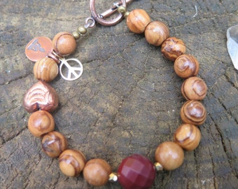 Gemstone & Wood Beaded Bracelet - Burgundy Mookaite - Heart Buddha Peace Sign - Gold Copper - Funky Eclectic - Crystal Yoga Jewelry