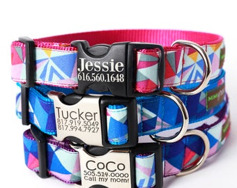Collins Geometric Engraved Buckle Dog Collar - Personalized with 3 Webbing Colors to Choose From