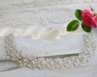 Sale Wedding Headband, Hair accessories, wedding accessories, Bridal Hair Piece, Pearl Headband, Jeweled Ribbon , wedding headpiece