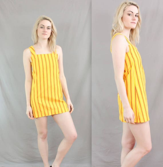 1960's Mod Gogo Dress in Small or Medium . Yellow and Orange Space Age Shift Dress . Block Dress . Handmade . go go mini . dance club