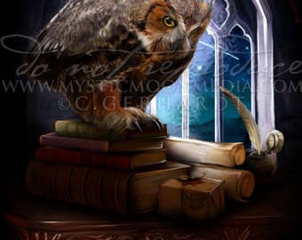 Rowena Ravenclaw Owl/ Harry Potter Art Print / Hogwarts Founder / House Ravenclaw/ Harry Potter Gift / Owl Post Ravenclaw / Nerd Gifts