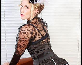 Pinstripe mini bustle skirt, size 10-12, Sample Sale.