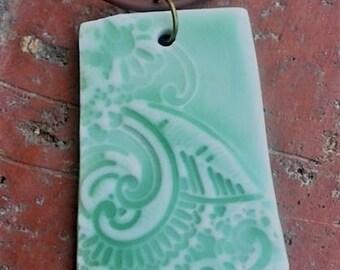 Green Celadon Lace Porcelain Pendant