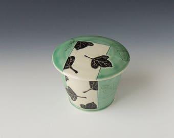 Green Kudzu Jar - ceramic porcelain clay lidded trinket or spice jar with vine mishima and leaves - handmade wheel thrown pottery
