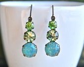 Crystal and opal green stone earrings /multi stone earrings /winter green earrings. Tiedupmemories