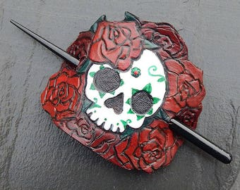 Tooled Leather Hair Stick Barrette with Skull & Rose Motif - Day of the Dead, Deadhead, Sugar Skull with Crimson and Burgundy Roses