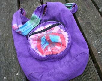 Nepal Nepalese peace sign hippie purse shoulder bag purple zippers button closure