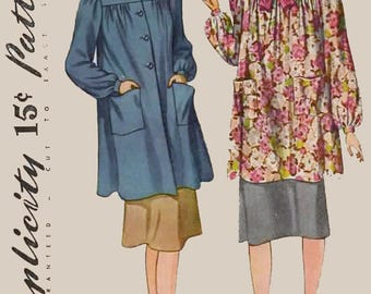 1940s Maternity Smock in two lengths Simplicity 3501 Vintage 40s Sewing Pattern Size 14 Bust 32 UNCUT