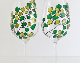 Maidenhair Fern Glasses - Hand Painted Fern Wine Glasses - Mothers Day Gift - Gift for Her, Green Leaves