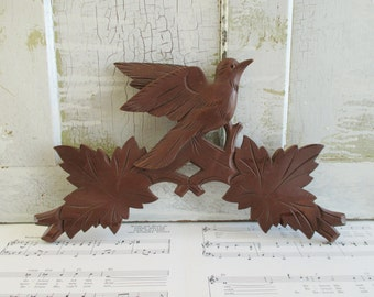 Big Vintage Wooden Carved Bird and Leaves Cuckoo Clock Piece