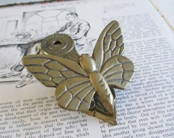 Vintage Brass Butterfly Clip
