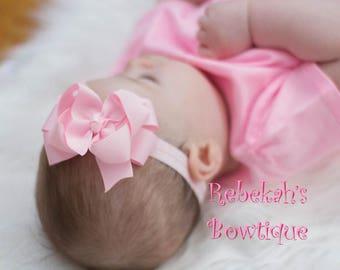 newborn headband, double stack bows, tiny hair clips, infant headbands, small baby bows, pink baby headband, newborn hair bows, little girl