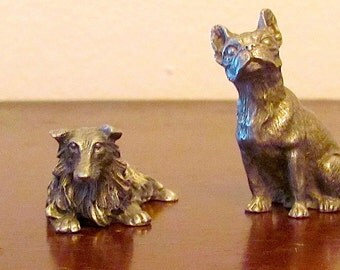 Sparta Pewter Dogs Miniature Whimsical Metal Ornaments Set of 4 Boston Terrier Collie Lab Scottie