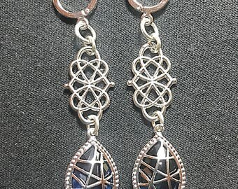 Matte Silver Sapphire Blue Fancy Drop Earrings