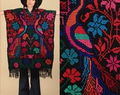 ViNtAgE 60s 70's Fringe Huipil Poncho Black ColorfulPeacock Caftan Mexican Artisan Embroidered Maxi Cape Sweater Needle Point Punto de Cruz