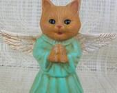 Ceramic Cat Angel Figurine / Ceramic Angel Statue / Cat Statue / Angel Gift / Cat Lover Gift / Angel Decor / Cat Decor / Cat Memorial