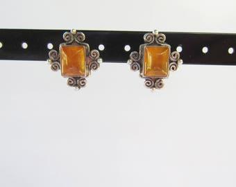 Sajen Sterling Silver and Amber Filigree Post Back Earrings    1535D