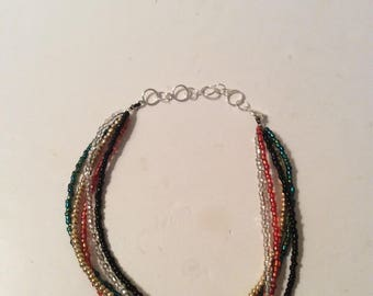 Handmade Multi Strand Choker Necklace, Multi Color Seed Bead Choker,  Red, Gold, Silver, Green, Black, Seed Bead Choker Necklace