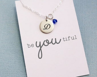 Personalized Initial Birthstone Necklace | Monogram Disc Charm | Personalized Jewelry | Cursive Initial | Swarovski | Sterling Silver | X03