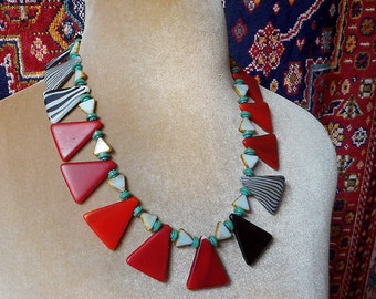 Artistic Contemporary strong design, vintage West African glass triangle pendants