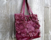 RESERVED for Heather Magenta Leather Flower Tote Bag by Stacy Leigh