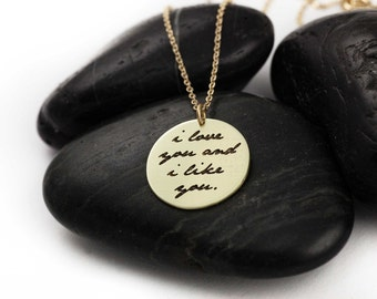I Love You And I Like You. Parks and Recreation. Pop Culture. Leslie Knope. Ben Wyatt. Gifts for Her. Couple. Brass. Silver. Necklace.