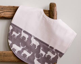 Gray Deer Toddler Bib; Modern Woodland Feeding Bib; Organic Cotton Highchair Bib; Handmade Baby Shower Gift; Baby Layette, Elk Family Pewter