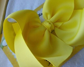 Yellow JoJo Bow - XL Hair Bow - Boutique Southern Style Bow - 2.25 Wide Ribbon - 6 Inch Hairbow - Jumbo Bow for Cheer - Barrette or Bow Clip