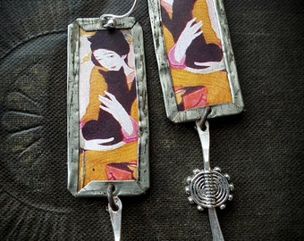 Tin Earrings, Geisha, Asian, Rustic, Organic, Primitive, Kuchi, Cat, Upcycled, Recycled, Beaded Earrings