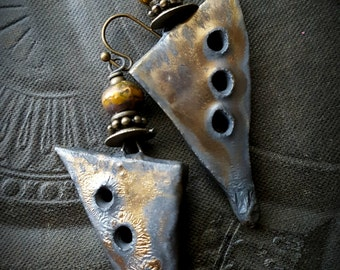 Ceramic, Daggers, Porcelain, Charms, Drops, Earthy, Funky, Copper, Brass, Glazed, Crackle, Wire Wrapped, Rustic, Organic, Beaded Earrings