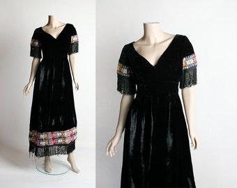 Vintage 1960s Black Velvet Maxi Dress - Ethnic Boho Guatemalan Embroidered Trims and Fringed - Colorful Rainbow - Small Medium