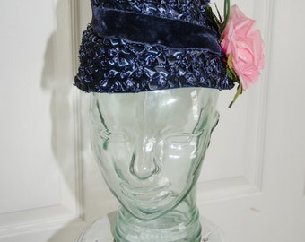 1950's Royal Blue Straw Woman's Hat with Flower