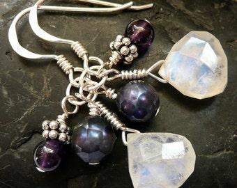 Gemstone Trio Rainbow Moonstone Amethyst Pearl Sterling Silver OOAK Boho Hippie Festival Gift for Her Dangle Earrings