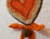 Primitive Punch Needle Rusty Heart Ornament - Tangerine with Sari Ribbon