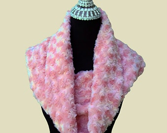 Neck Warmer - Pink Faux Fur Winter Scarf  READY TO SHIP!!