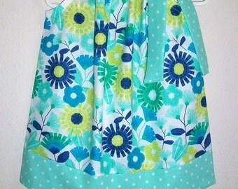 Pillowcase Dress with Flowers Aqua Blue Floral Dress Spring Dress Easter Dress baby dress toddler dress girls dress Spring Fashion