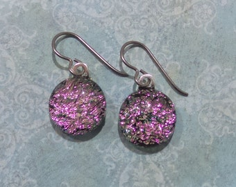 Pink Niobium Earring for Very Sensitive Ears, Dangle Earrings, Pink Dichroic Earrings, Fused Glass, Hypoallergenic Jewelry - Eloise --6
