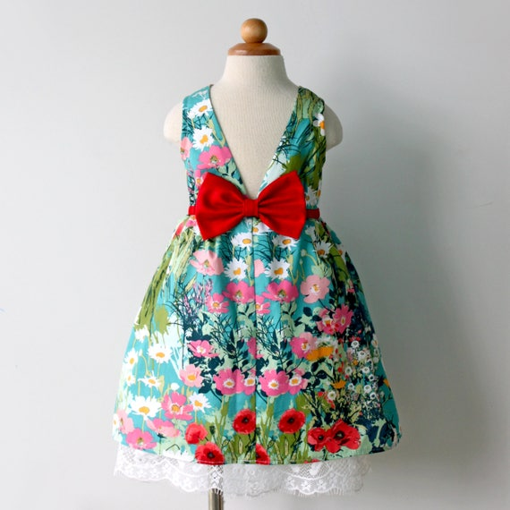 Bright, Happy Flower Garden Party Dress, for Girl and Toddler