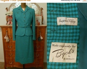 33% OFF SALE Vintage 50s Suit, 1950s Turquoise and Green Check Wool Suit by Bardley, Size S Small