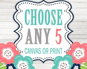 Create Your Own Set of 5 Wall Art, Choose Any 5 Five CANVAS or Prints Quote TRM Design Home NURSERY Boy Girl Home Decor