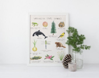 Washington State Symbols Art Print / Washington State Art / State Symbols Art / Pacific Northwest Art / Seattle Art / Washington Art Print