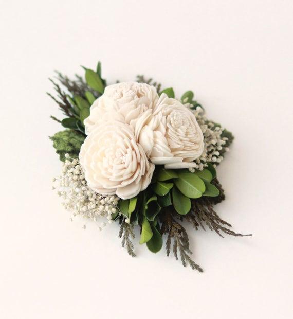 Woodland hair clip, Rustic bridal hair accessory, Natural floral hair clip, Baby's breath and cedar, Sola floral hair accessory, Boxwood