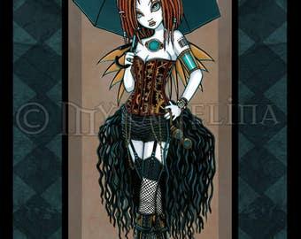 Samara Steampunk Aviatrix Couture Fairy Signed Fine Art Print Signed Myka Jelina