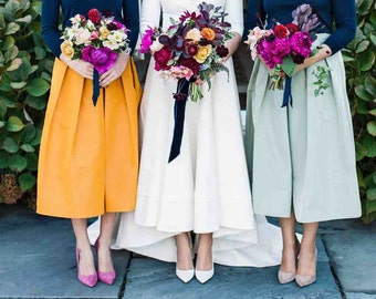Tea length silk faille skirt retro bridal bridesmaid colors rustic celadon salmon navy blue aqua green