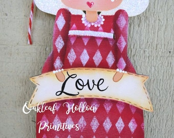 Valentine Love Angel Handpainted Wood Ornament