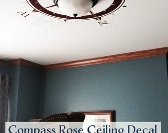 Large Nautical Compass Rose Decal - Vinyl Wall Decal for Nursery, Bedroom, Study Wall or Ceiling - Customize Your Space