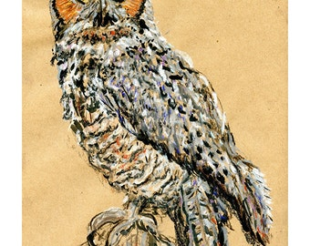Great Horned Owl 8X10 9X12 or 11X14 print - Bird Art Pastel Mixed Media Drawing